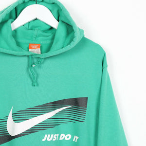 Vintage NIKE Big Graphic Logo Hoodie Sweatshirt Green 2XL