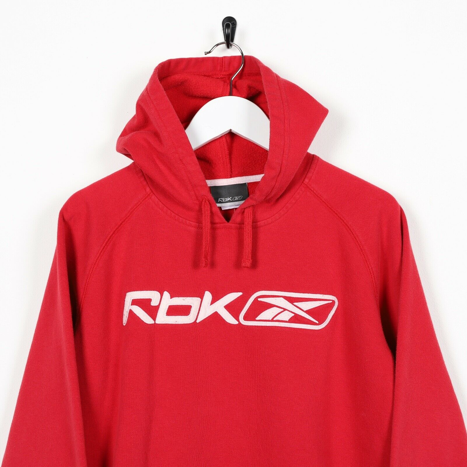 Vintage Women's REEBOK Central Spell Out Logo Hoodie Sweatshirt Red Medium M