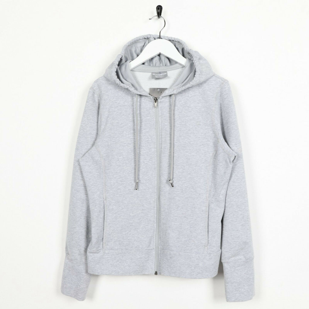 Vintage Women's CHAMPION Zip Up Hoodie Sweatshirt Grey Large L