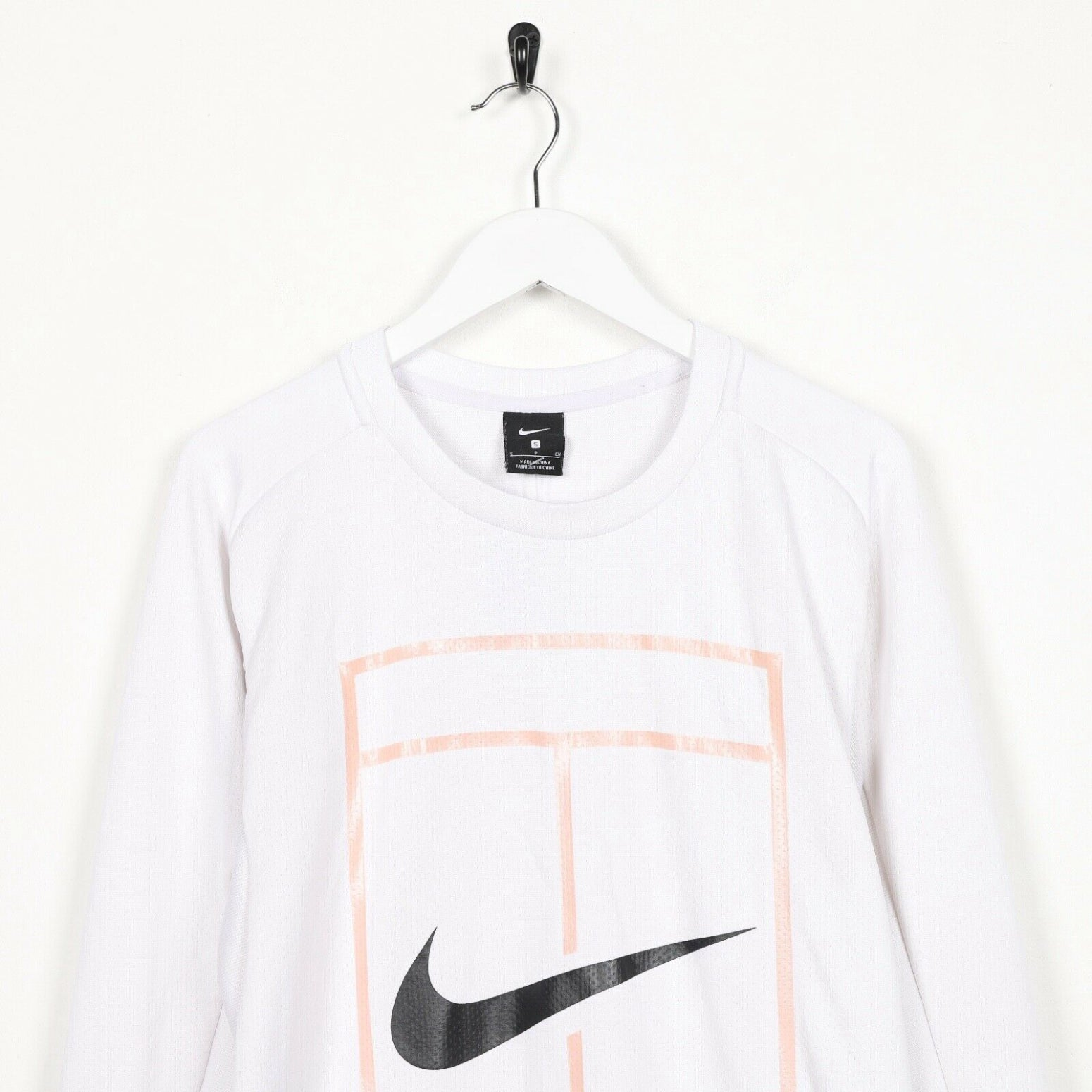 Vintage Women's NIKE Big Graphic Logo Polyester Sweatshirt White | Small S