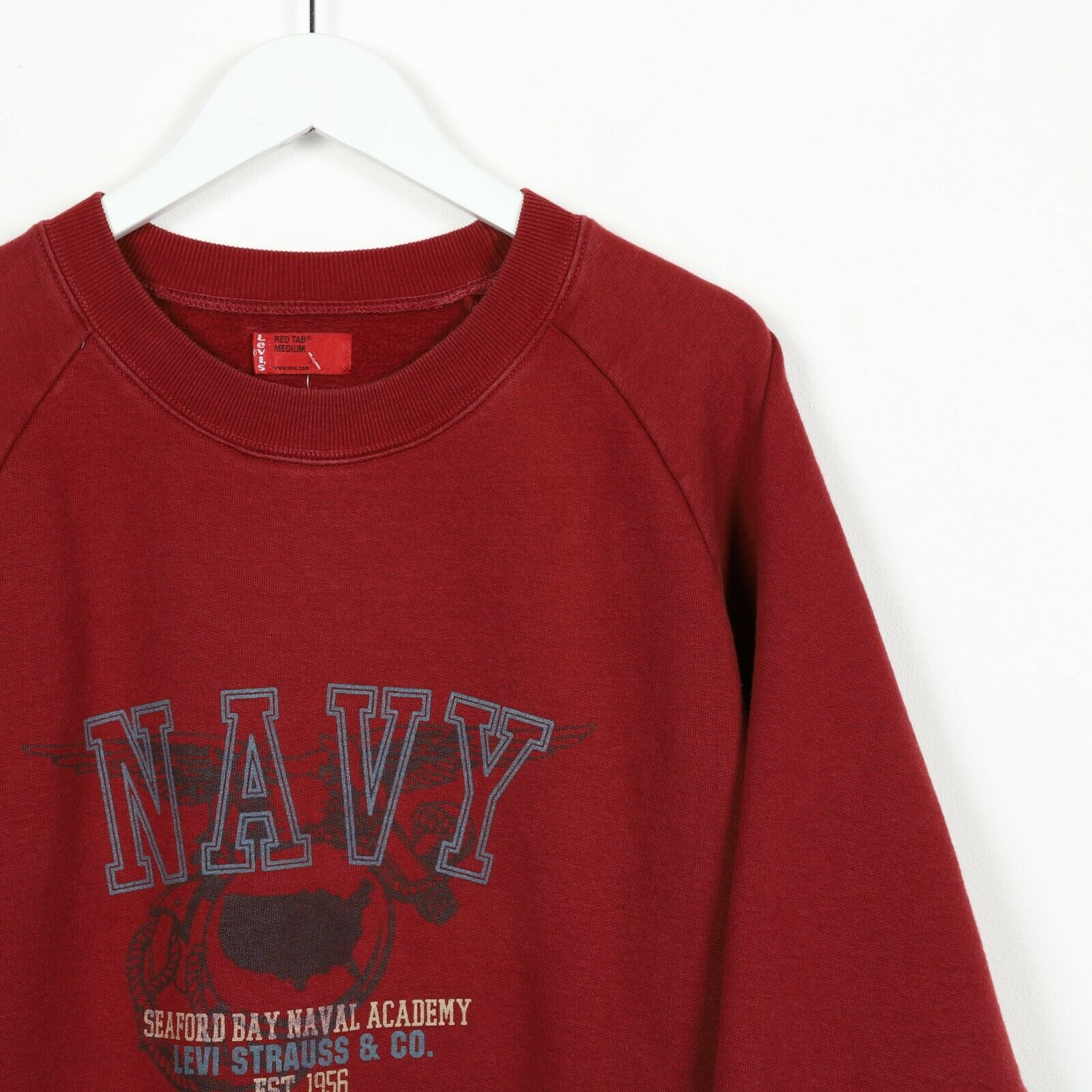 Vintage LEVI'S Graphic Sweatshirt Jumper Burgundy Red Medium M