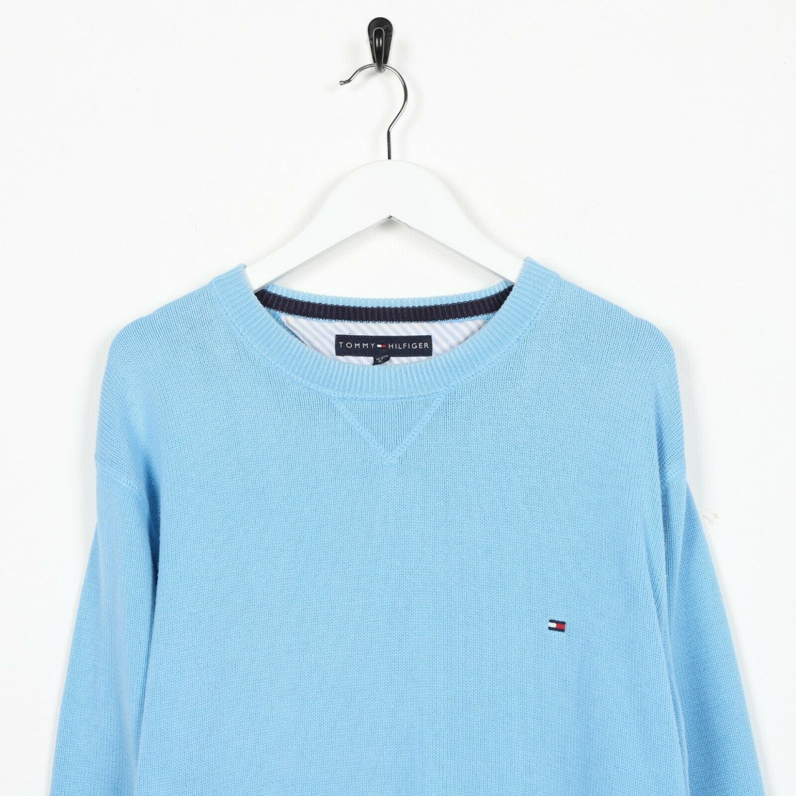 Vintage TOMMY HILFIGER Small Logo Knitted Sweatshirt Blue | XL