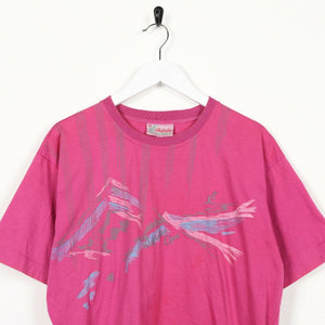 Vintage AUSTRALIAN Small Logo Graphic T Shirt Tee Pink | Large L