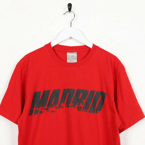 Vintage 90s NIKE Graphic Madrid Logo T Shirt Tee Red Medium M