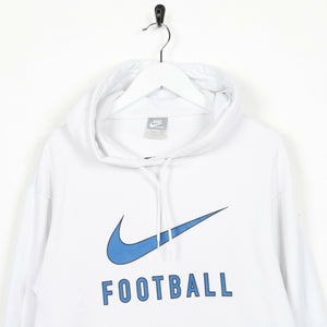 Vintage NIKE FOOTBALL Central Spell Out Hoodie Sweatshirt White Medium M