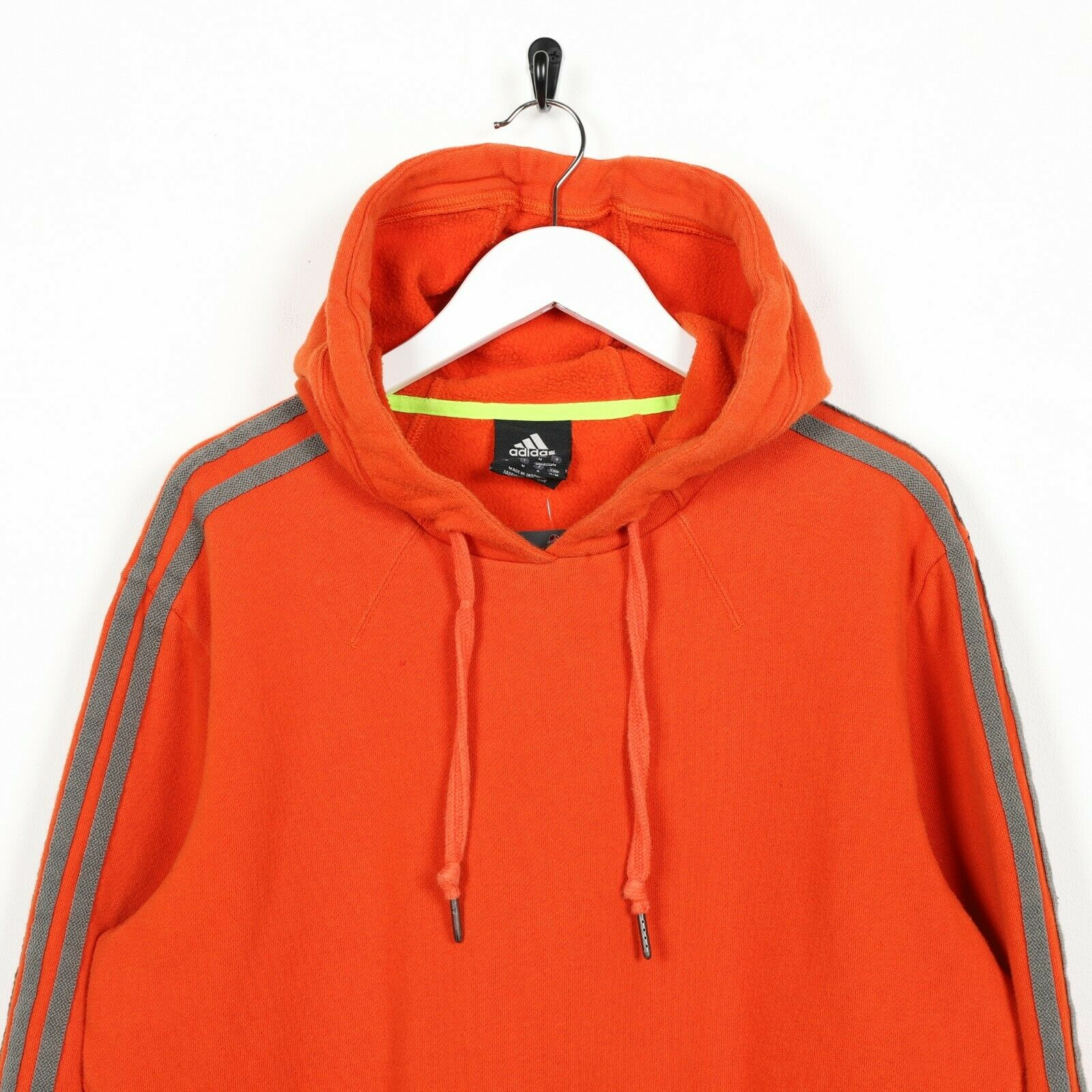 Vintage ADIDAS Small Logo Pocket Spell Out Hoodie Sweatshirt Orange Medium M