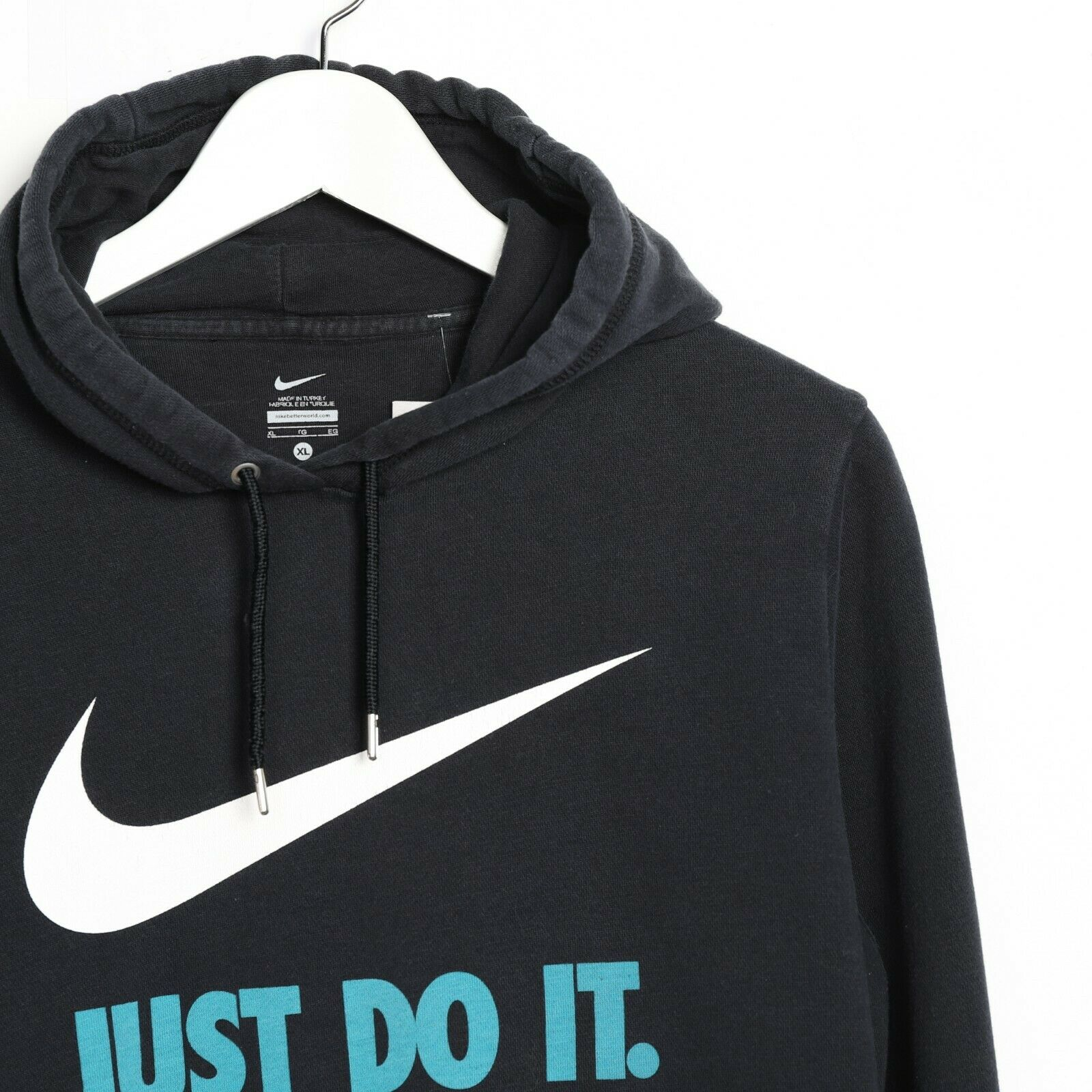 Vintage NIKE Small Logo Hoodie Sweatshirt Black | Small S