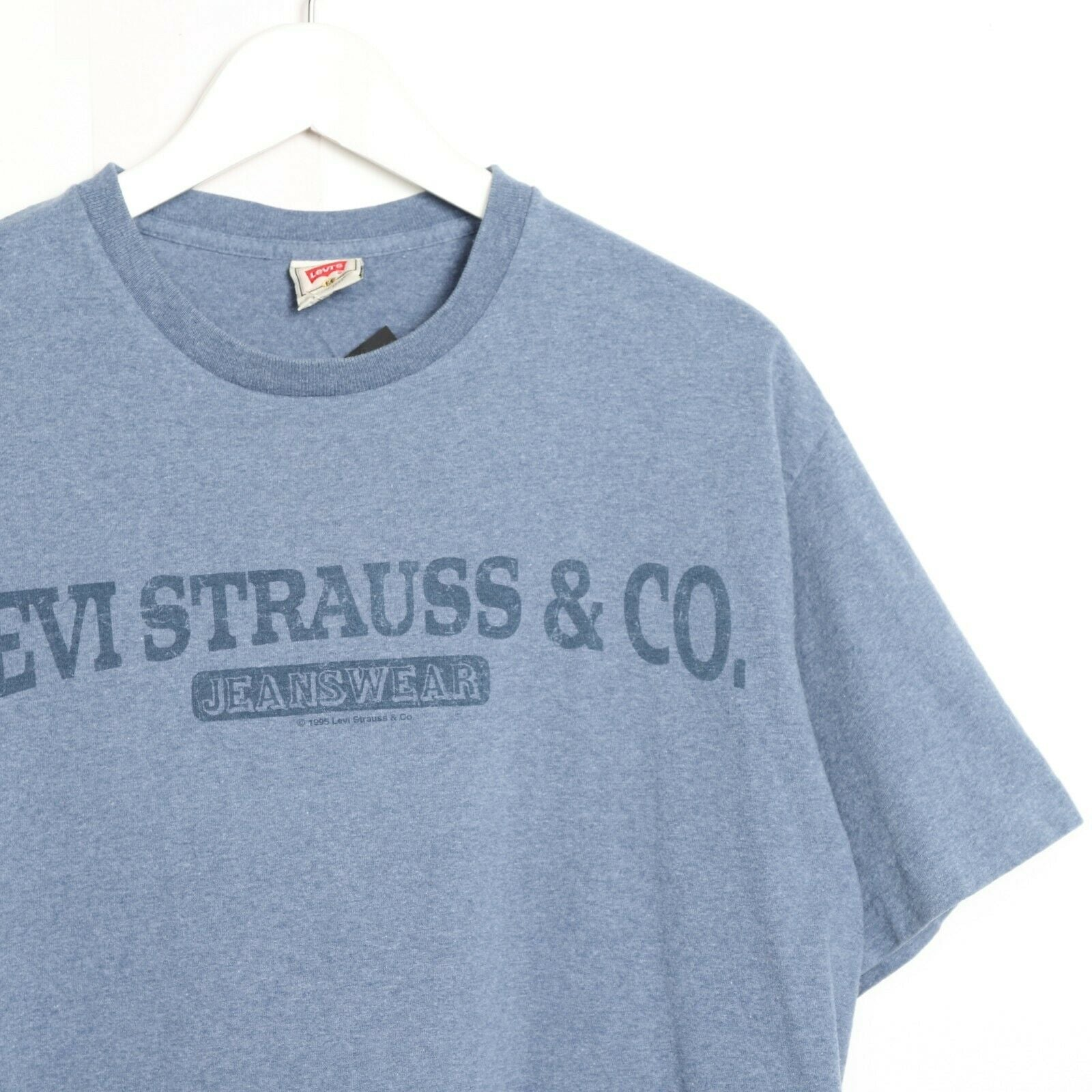Vintage 90'S LEVI'S Central Spell Out Logo T Shirt Tee Blue Medium M