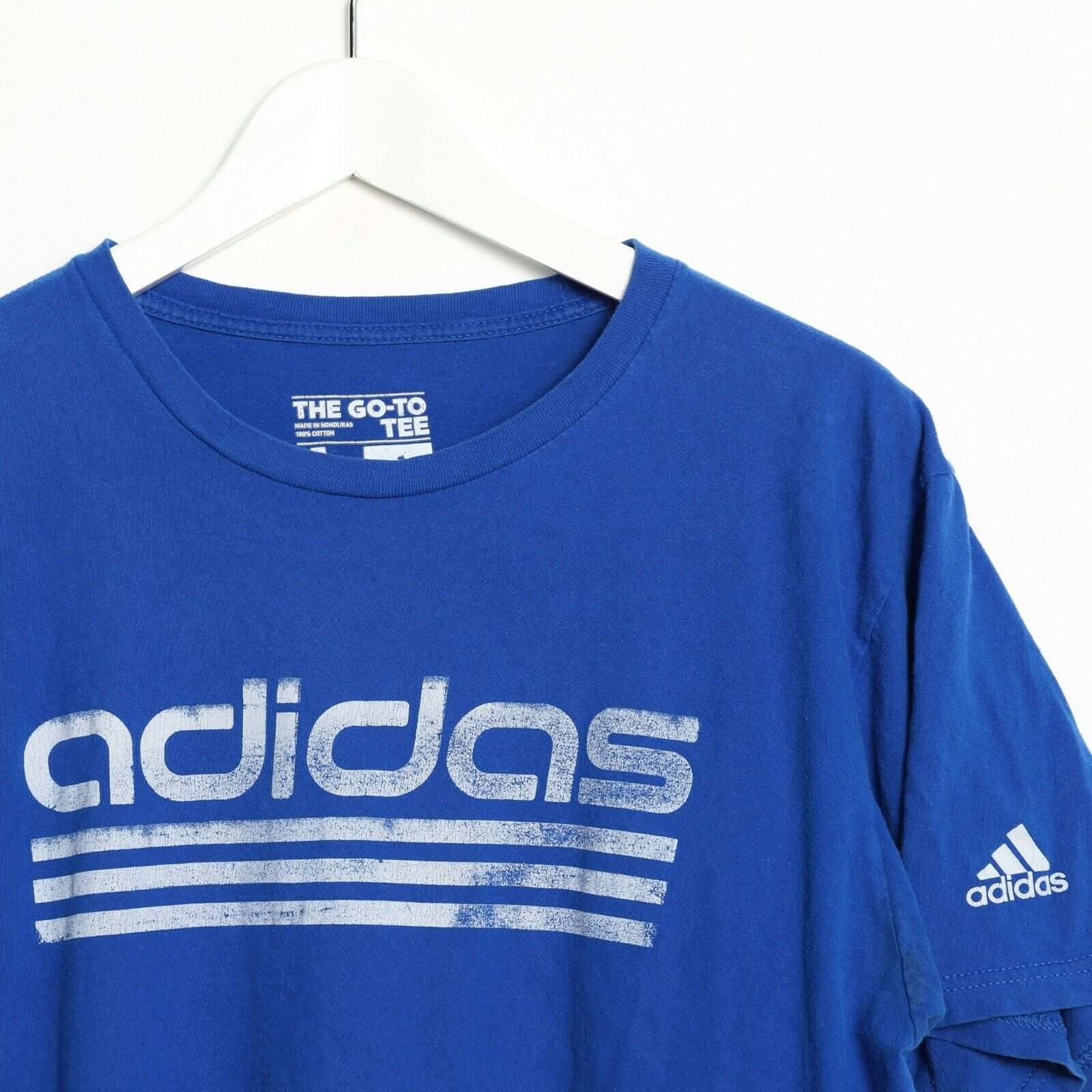 Vintage ADIDAS Big Spell Out Logo T Shirt Tee Blue Large L