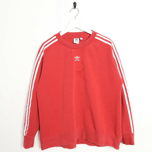 Vintage Women's ADIDAS Originals Centre Logo Sweatshirt Jumper Red UK 16