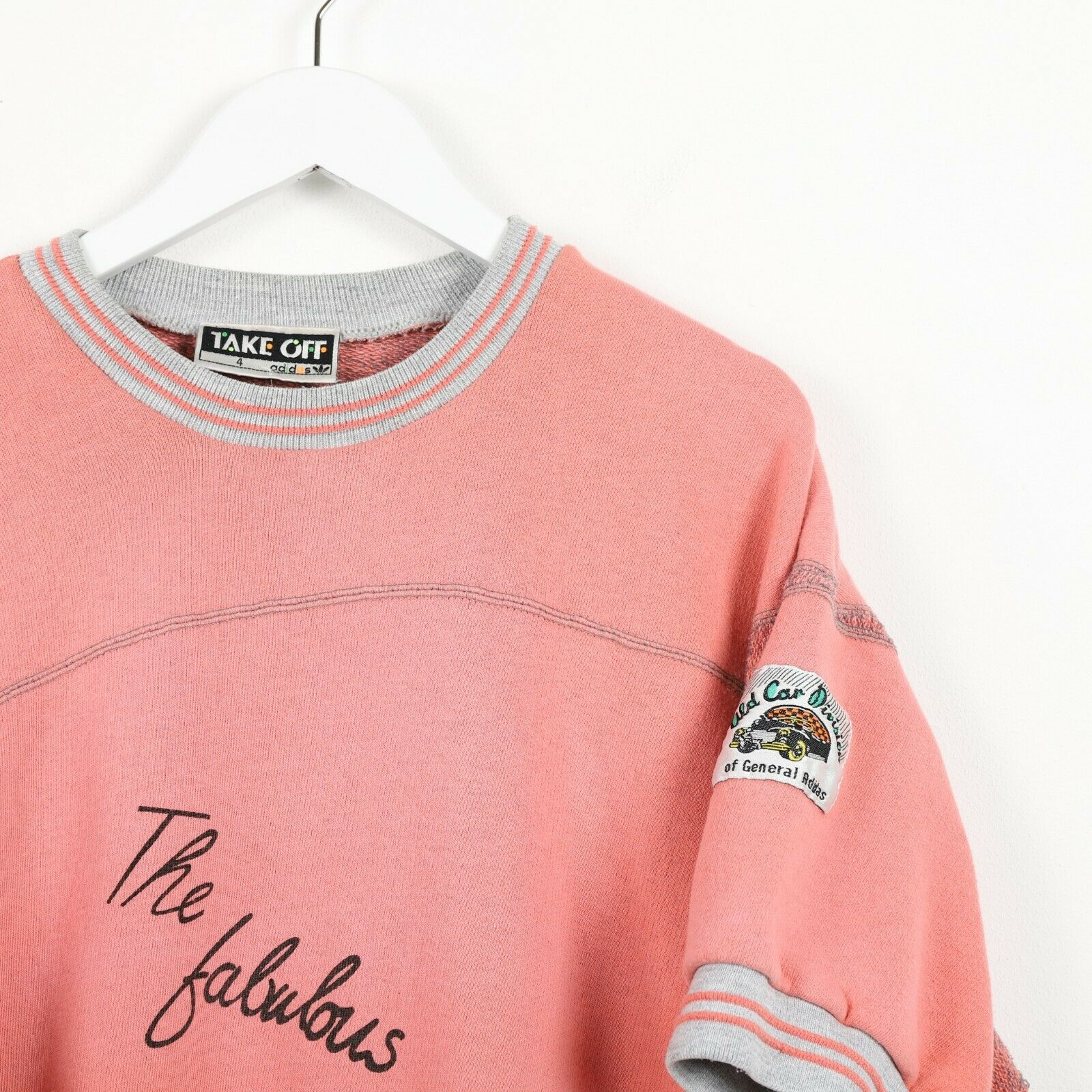Vintage 80s ADIDAS TAKE OFF Short Sleeve Sweatshirt Jumper Pink Small S