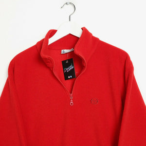Vintage 90s SERGIO TACCHINI 1/4 Zip Fleece Top Red Medium M