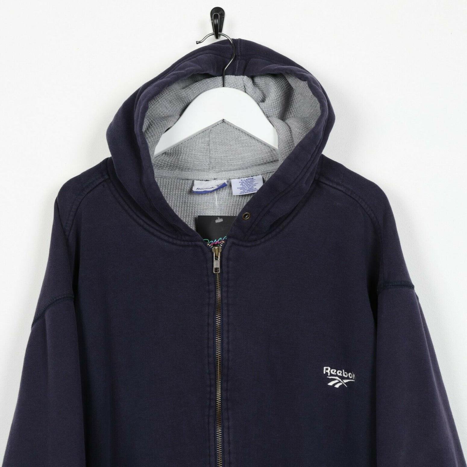 Vintage REEBOK Small Logo Zip Up Hoodie Sweatshirt Navy Blue XL