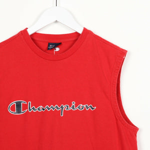 Vintage CHAMPION Big Spell Out Sleeveless T Shirt Tee Vest Red | XL