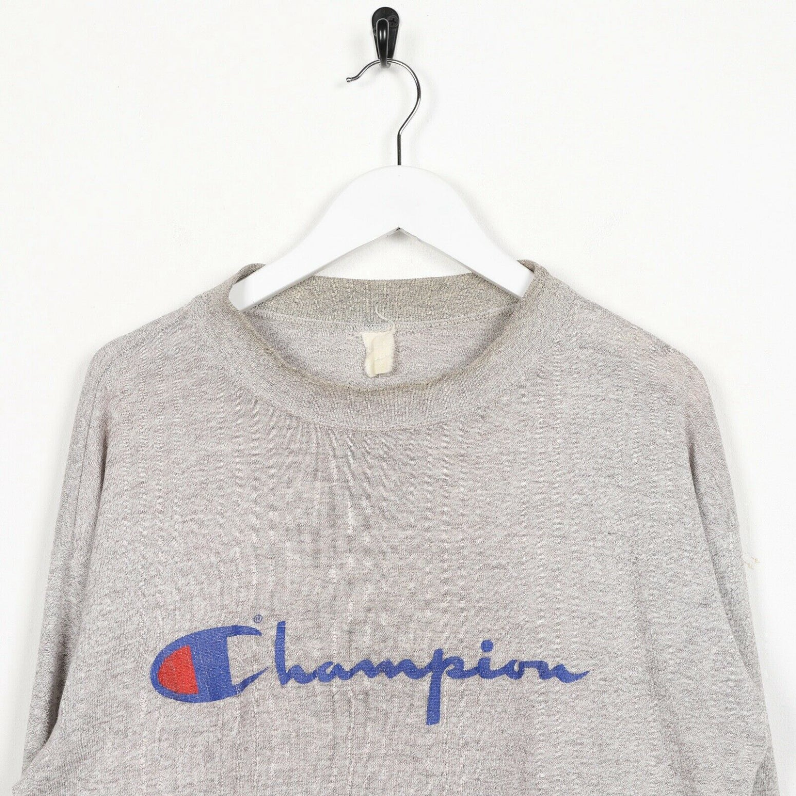 Vintage 90s CHAMPION Central Spell Out Logo Sweatshirt Jumper Grey | Small S
