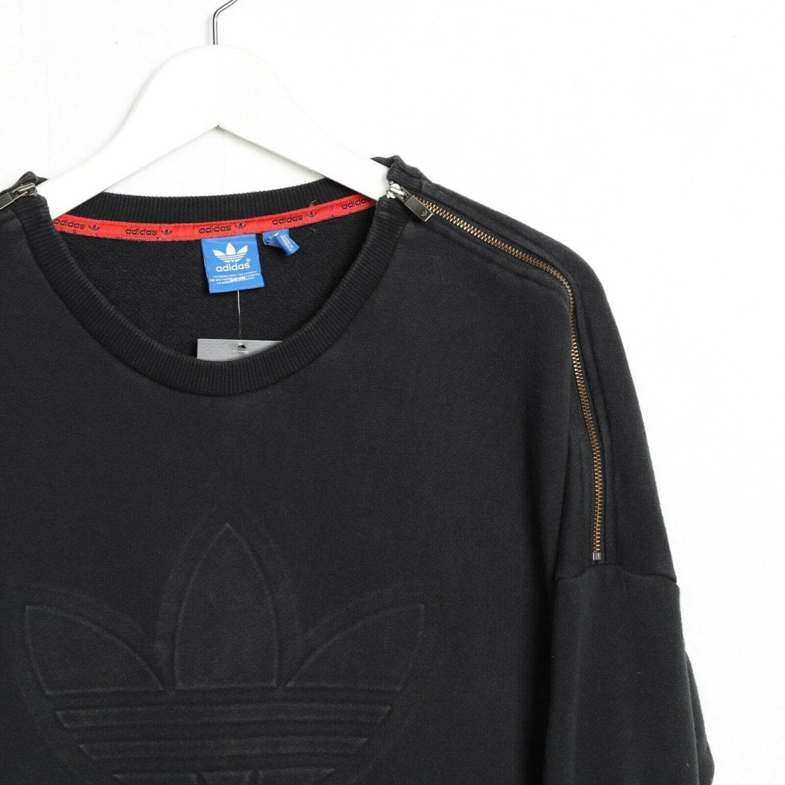 Vintage Women's ADIDAS ORIGINALS Big Trefoil Logo Sweatshirt Black | UK 10