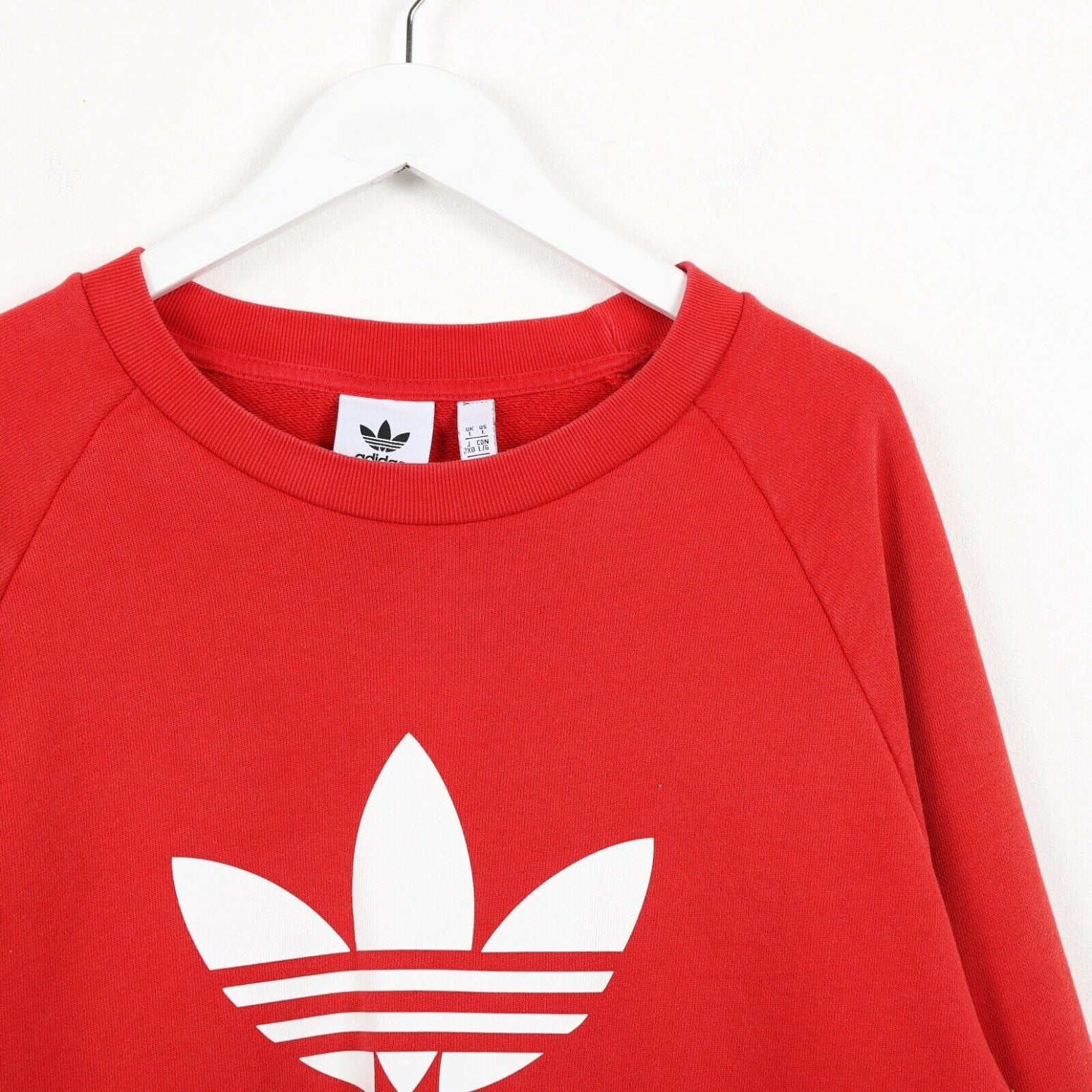 Vintage ADIDAS Big Logo Longline Sweatshirt Jumper Red Large L