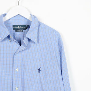 Vintage RALPH LAUREN Small Logo Check Shirt Blue | XL