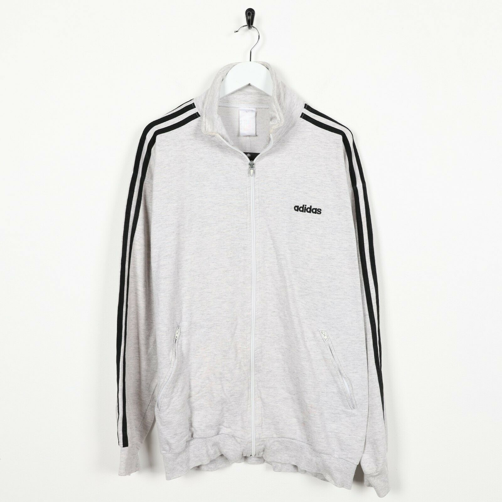 Vintage 80s ADIDAS Zip Up Sweatshirt Jumper Grey | Large L