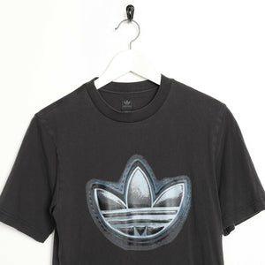Vintage ADIDAS ORIGINALS Big Trefoil Logo T Shirt Tee Faded Black | XS