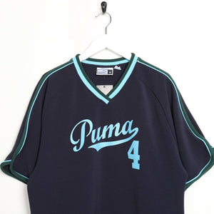 Vintage PUMA Spell Out Logo Oversized Polyester T Shirt Tee Blue | Medium M