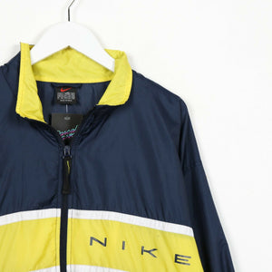 Vintage 90s NIKE Spell Out Soft Shell Windbreaker Jacket Blue Yellow | Large L