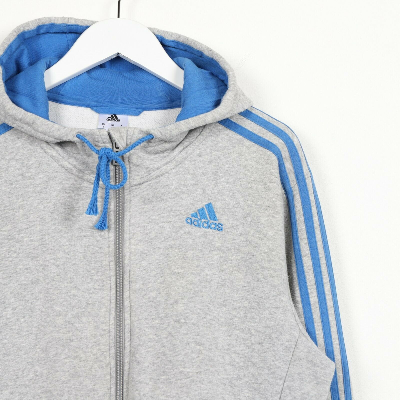 Vintage ADIDAS Sleeve Logo Zip Up Hoodie Grey | Small S