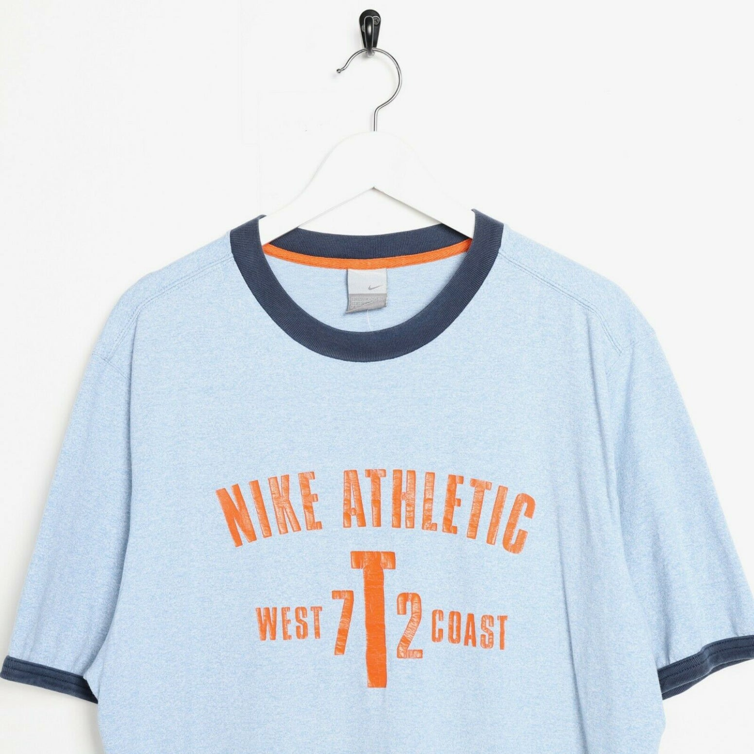 Vintage NIKE Athletic Big Graphic Logo T Shirt Tee Blue XL