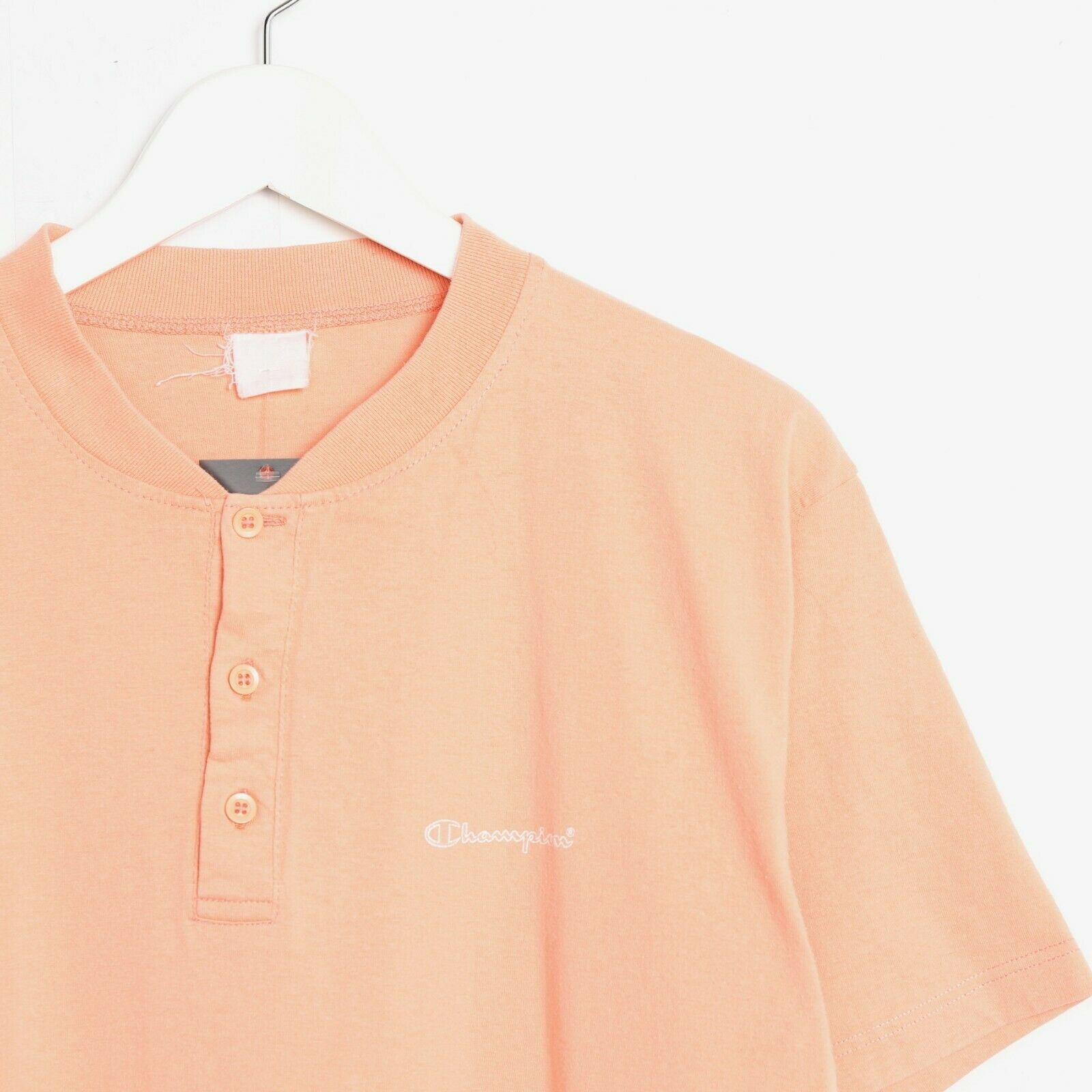 Vintage 90s CHAMPION Button Neck Small Logo T Shirt Tee Orange | Medium M