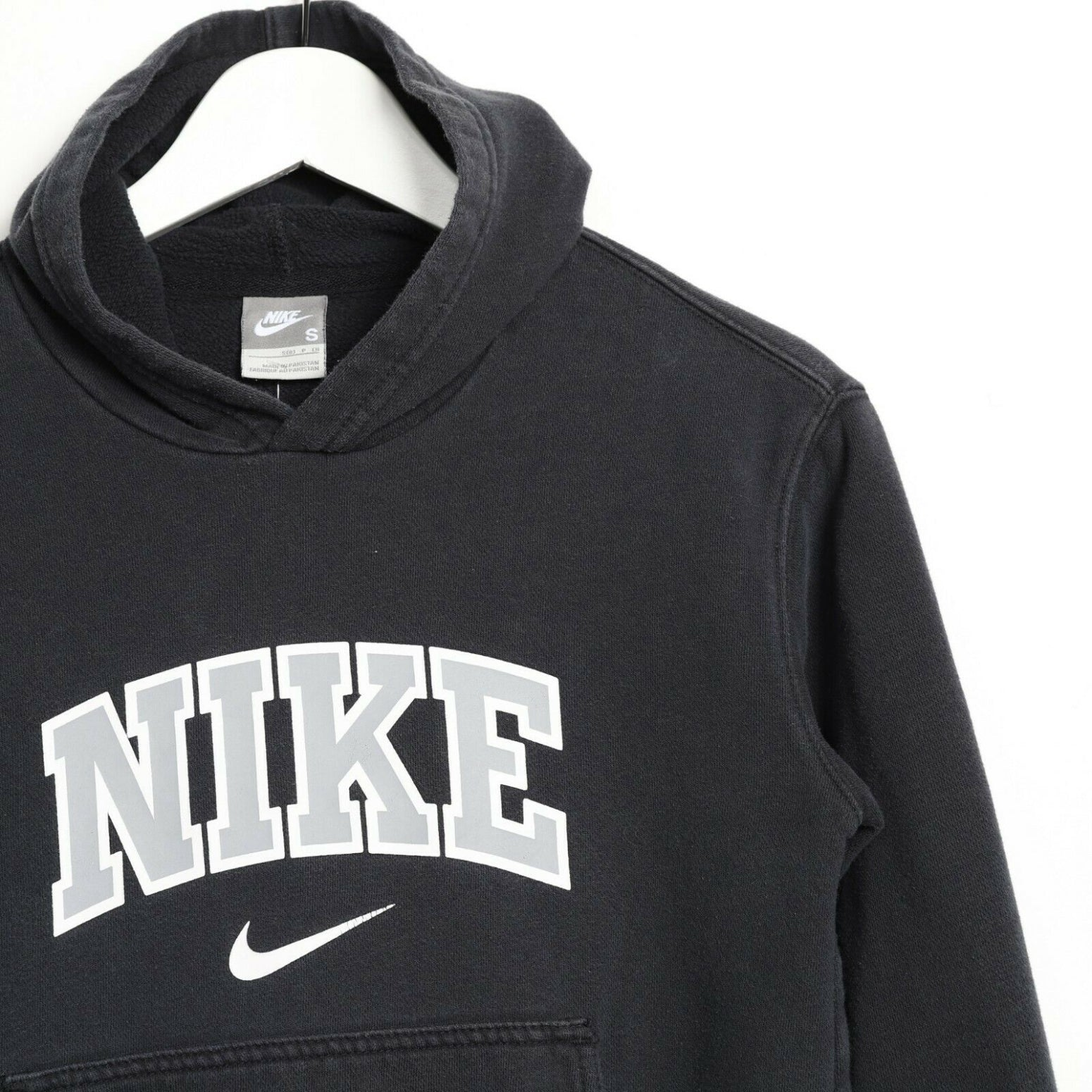 Vintage Women's NIKE Big Logo 3/4 Sleeve Hoodie Sweatshirt Black XS