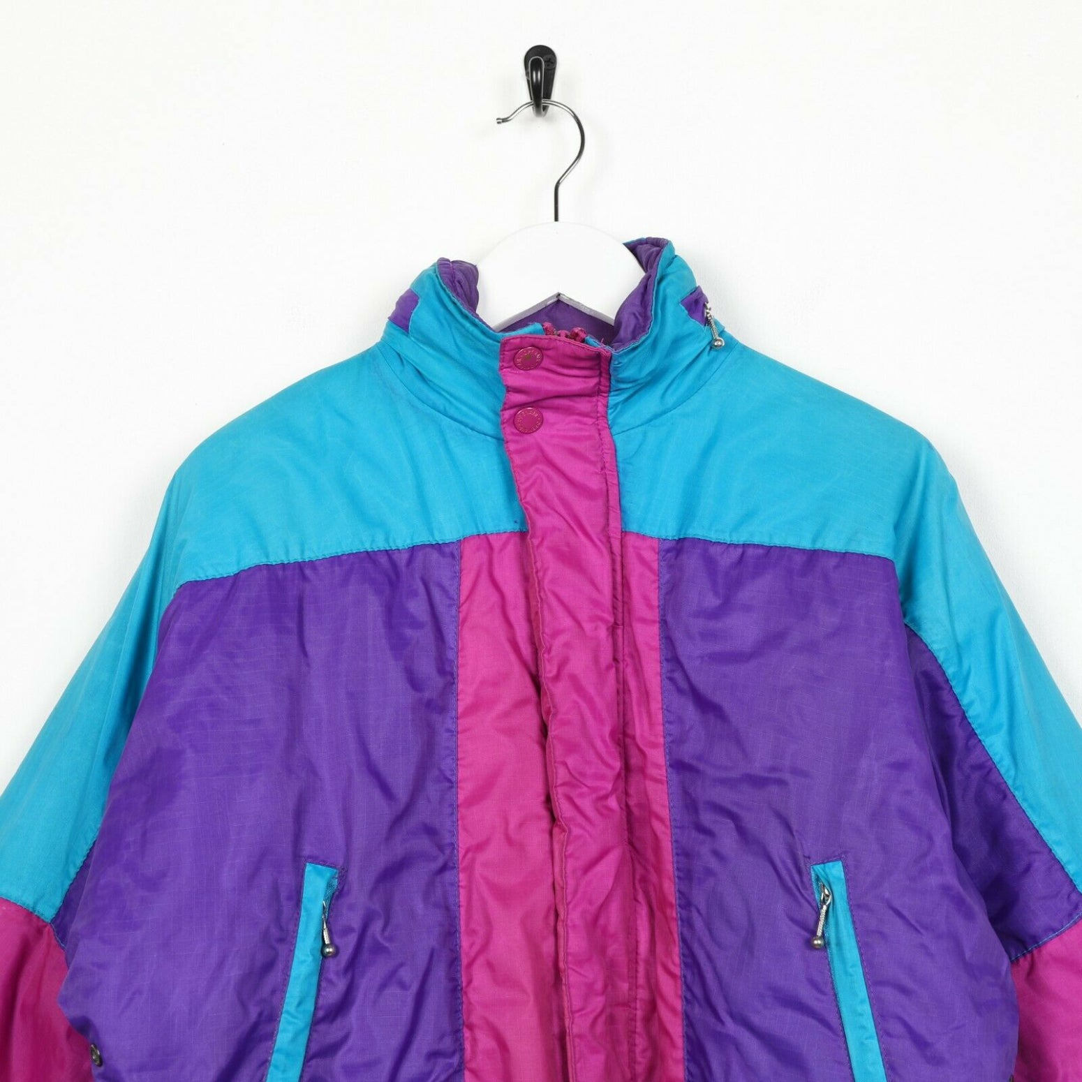Vintage Women's Zip Up Padded Coat Jacket Purple Blue Pink Medium M