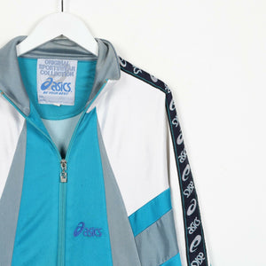 Vintage 90s ASICS Small Logo Tape Arm Track Top Jacket Blue | Large L