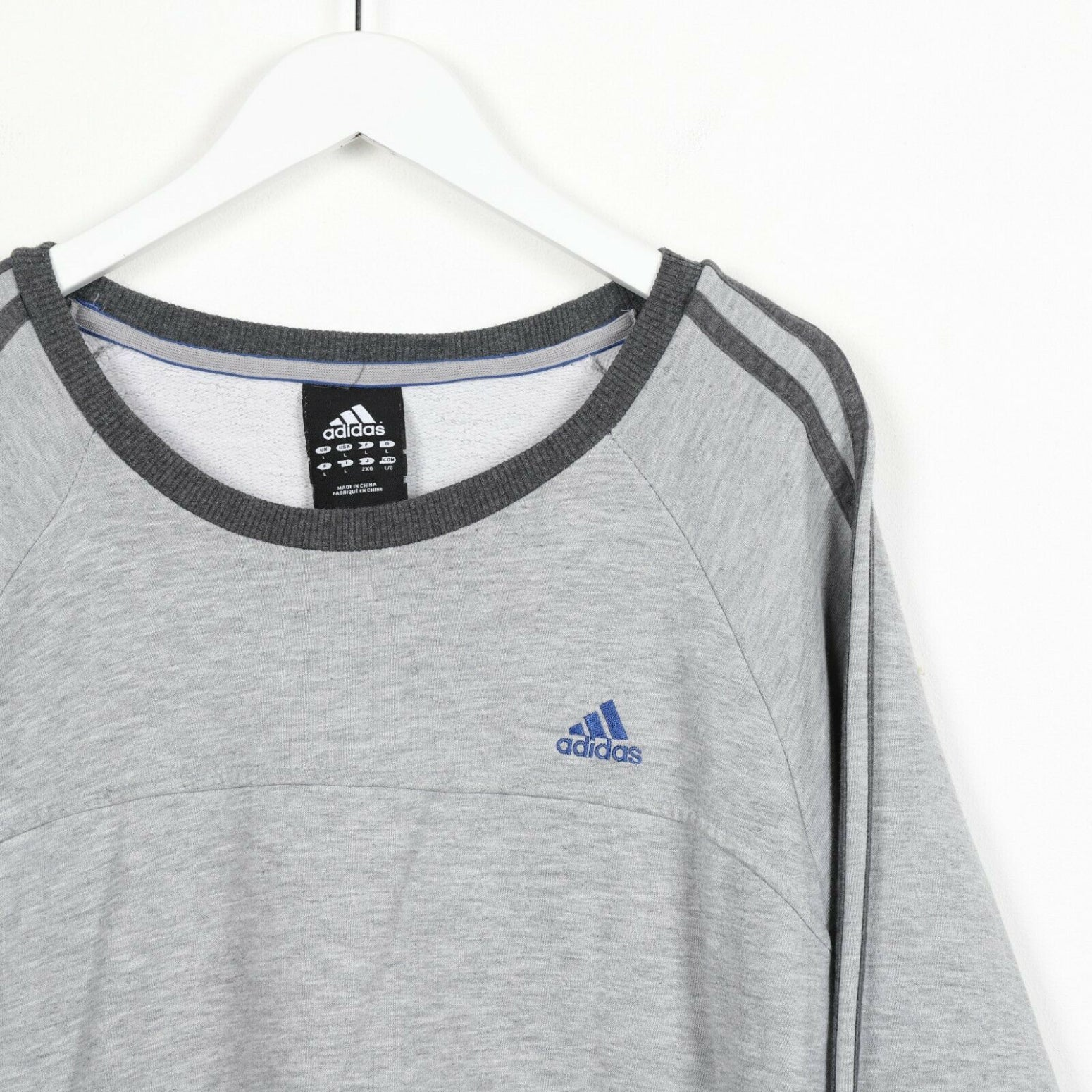 Vintage ADIDAS Small Logo Sweatshirt Jumper Grey | Large L