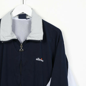 Vintage ELLESSE Small Logo Soft Shell Windbreaker Jacket Navy Blue | Small S