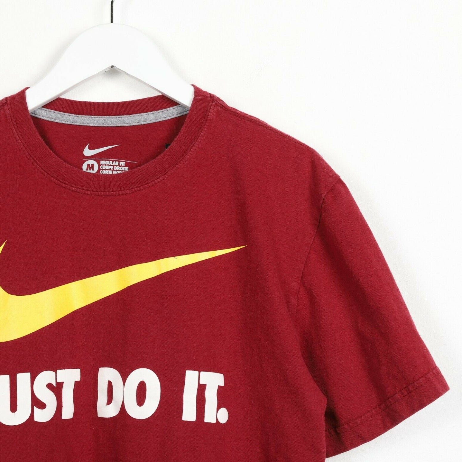 Vintage NIKE Just Do It Big Swoosh Logo T Shirt Tee Burgundy Red Medium M