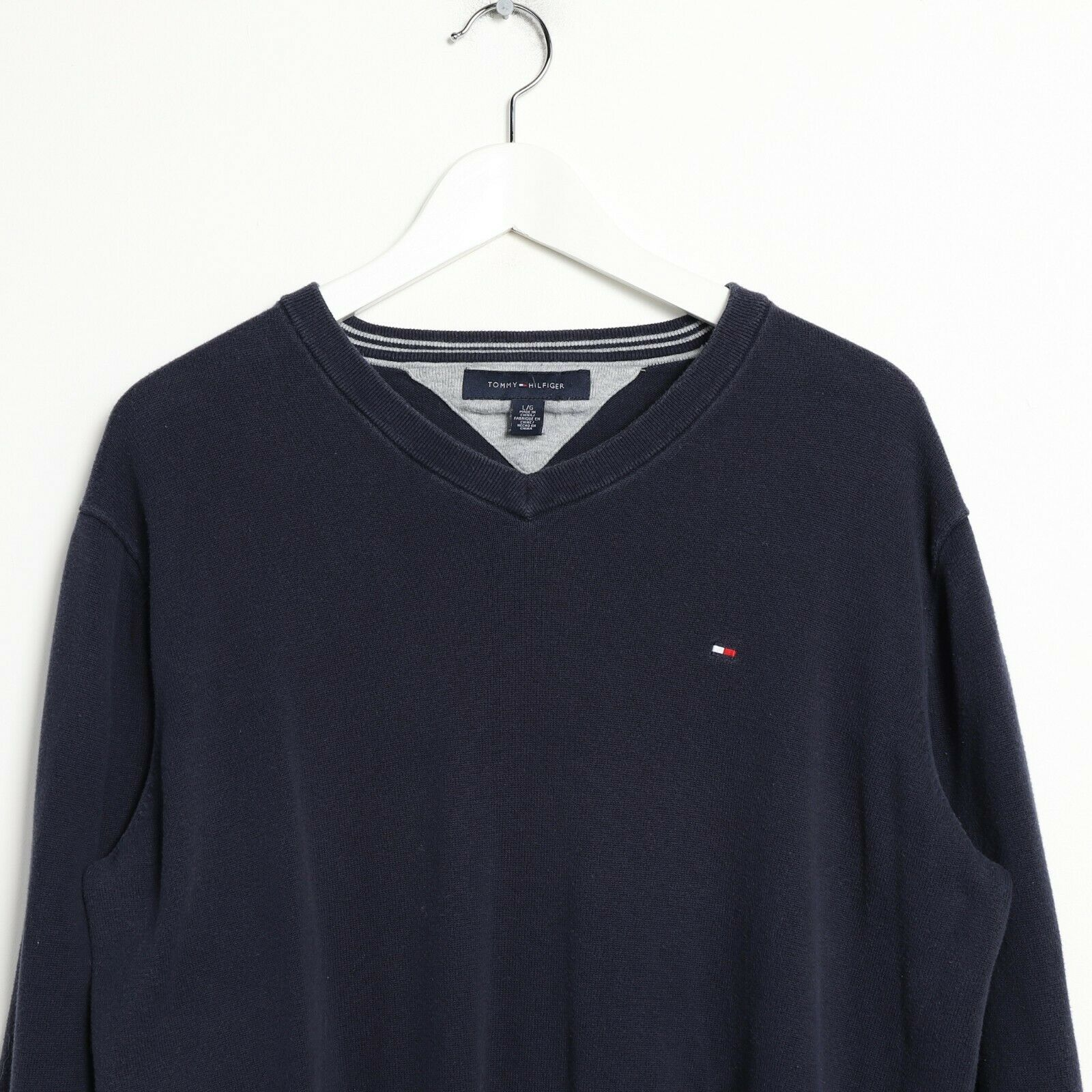 Vintage TOMMY HILFIGER Small Logo Knitted Sweatshirt Jumper Navy Blue | Large L