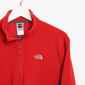 Vintage Women's THE NORTH FACE Small Logo 1/4 Zip Fleece Top Red | Small S