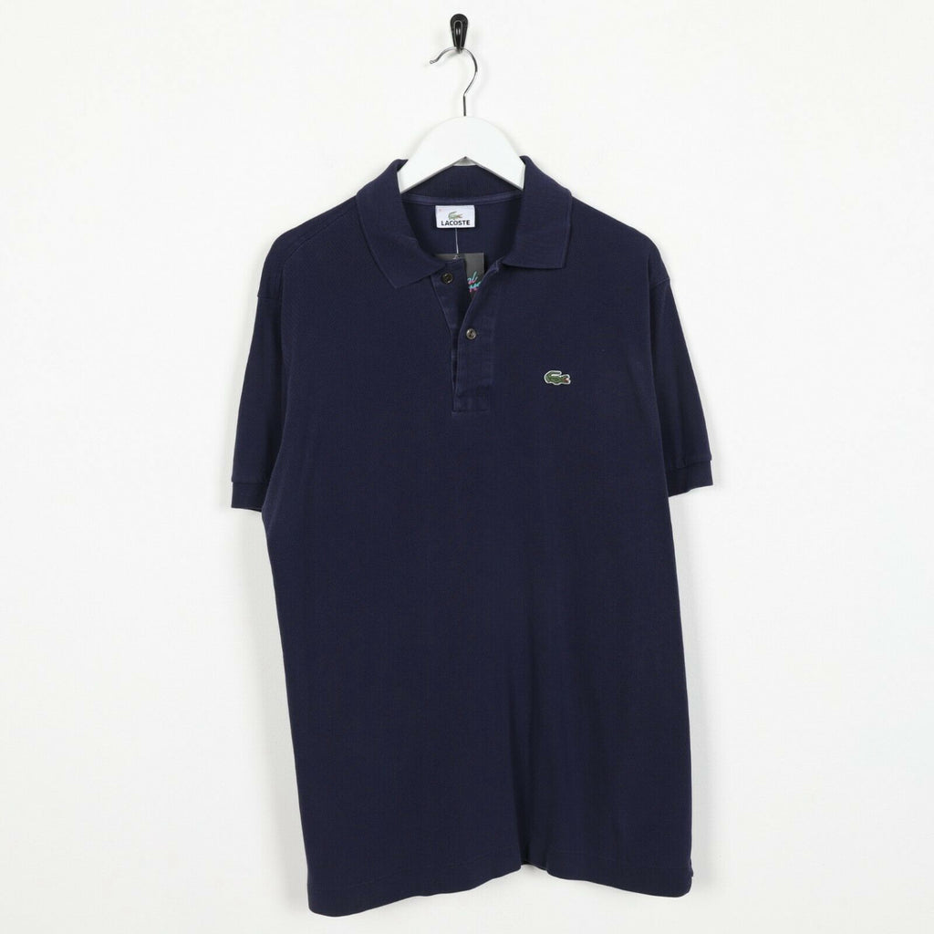 Vintage LACOSTE Small Logo Short Sleeve Polo Shirt Top Navy Blue | Large L