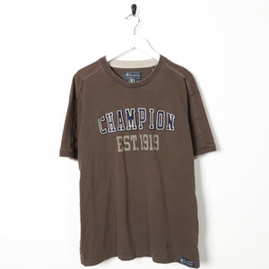 Vintage CHAMPION Central Spell Out Logo T Shirt Tee Brown | XL