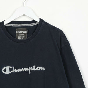 Vintage CHAMPION Spell Out Logo T Shirt Tee Blue 2XL