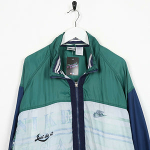 Vintage NIKE Small Logo Soft Shell Windbreaker Jacket Green Blue | XL