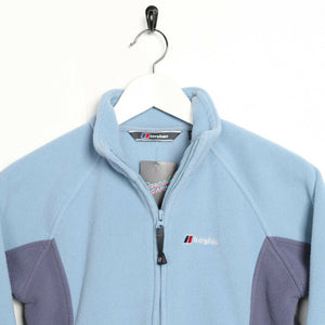 Vintage Women's BERGHAUS Small Logo Zip Up Fleece Top Blue XS