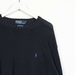 Vintage RALPH LAUREN Small Logo Knitted Sweatshirt Jumper Navy Blue | Large L