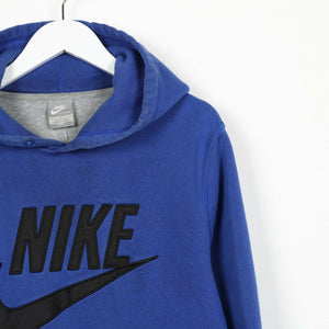 Vintage NIKE Big Spell Out Logo Hoodie Sweatshirt Blue Medium M