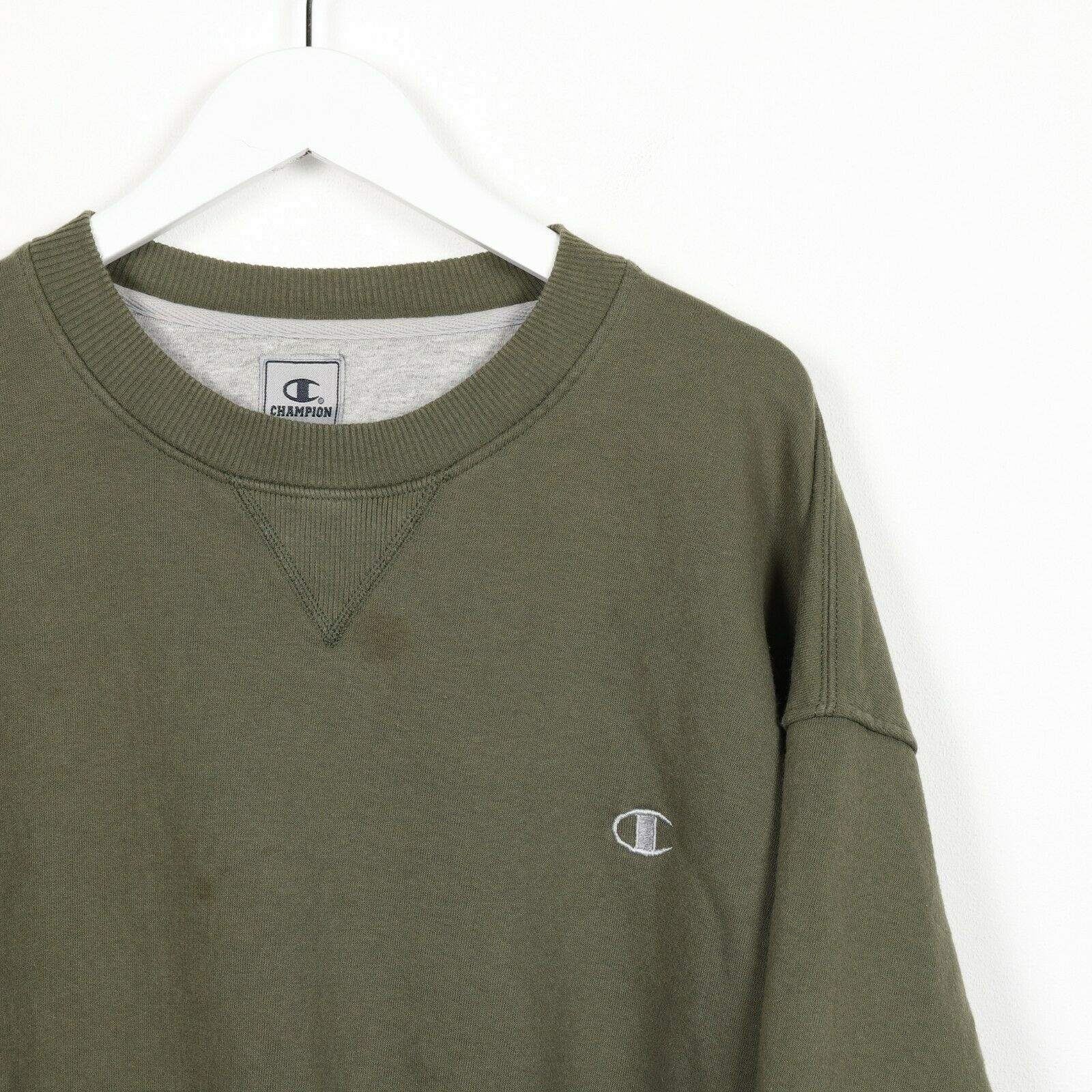 Vintage CHAMPION Small Logo Sweatshirt Jumper Green 2XL