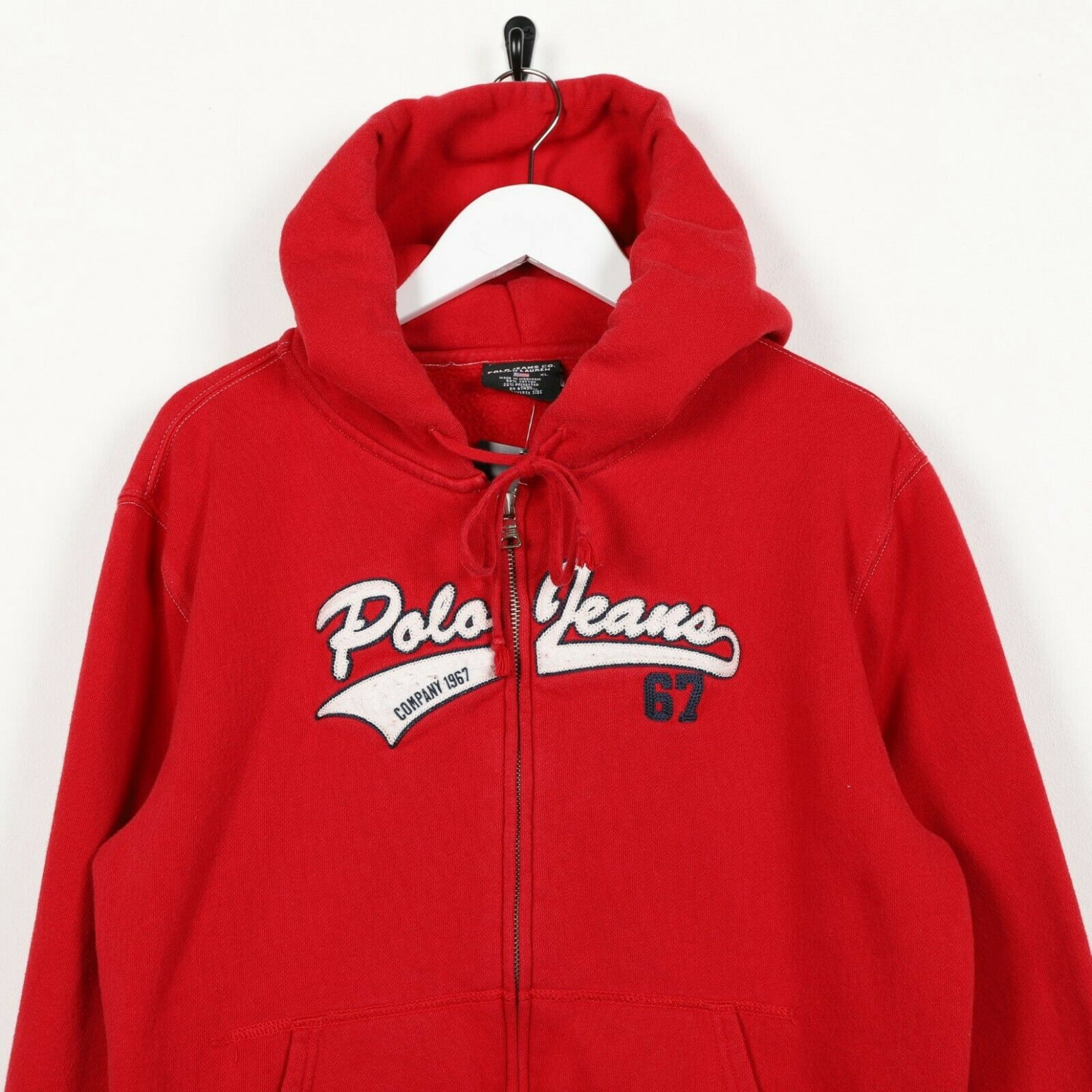 Vintage Women's RALPH LAUREN POLO JEANS Zip Up Hoodie Sweatshirt Red | Medium M