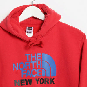 Vintage THE NORTH FACE New York Big Logo Hoodie Sweatshirt Red Small S