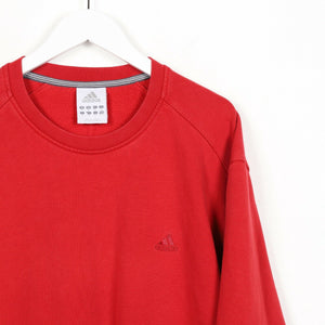 Vintage ADIDAS Small Logo Sweatshirt Jumper Red | XL