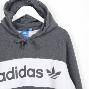 Vintage ADIDAS ORIGINALS Big Spell Out Hoodie Sweatshirt Grey Large L