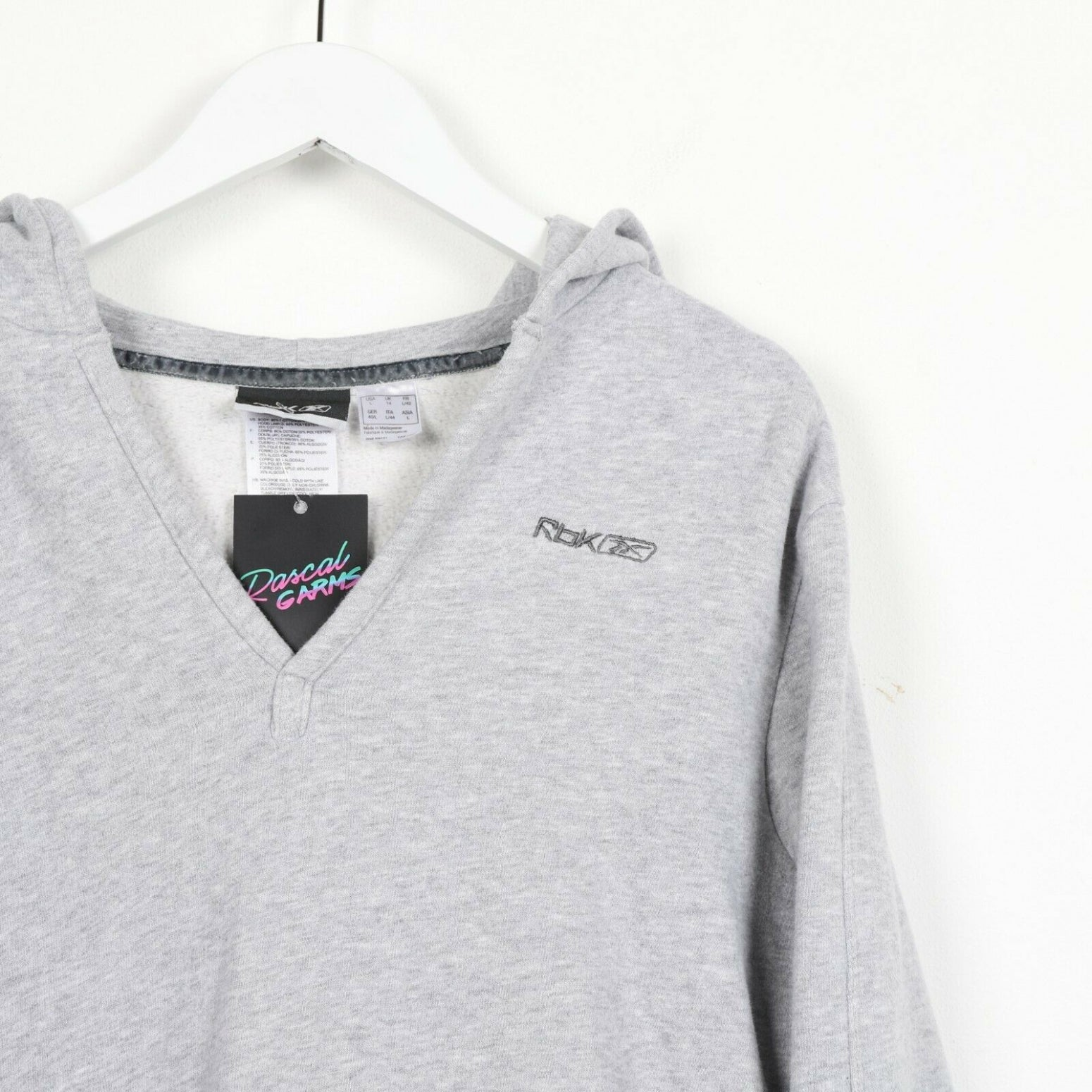 Vintage Women's REEBOK Small Logo V-Neck Hoodie Sweatshirt Grey | UK 14